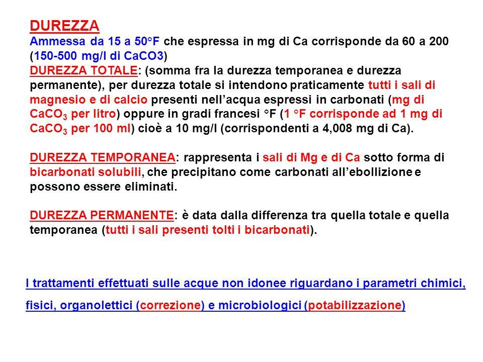 DUREZZA Ammessa da 15 a 50°F che espressa in mg di Ca corrisponde da 60 a 200 (150-500 mg/l di CaCO3) DUREZZA TOTALE: (somma fra la durezza temporanea