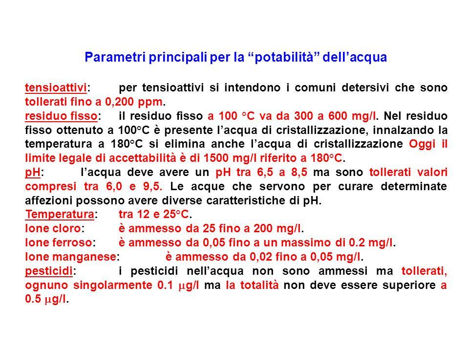 Parametri principali per la potabilità dellacqua tensioattivi:per tensioattivi si intendono i comuni detersivi che sono tollerati fino a 0,200 ppm. re