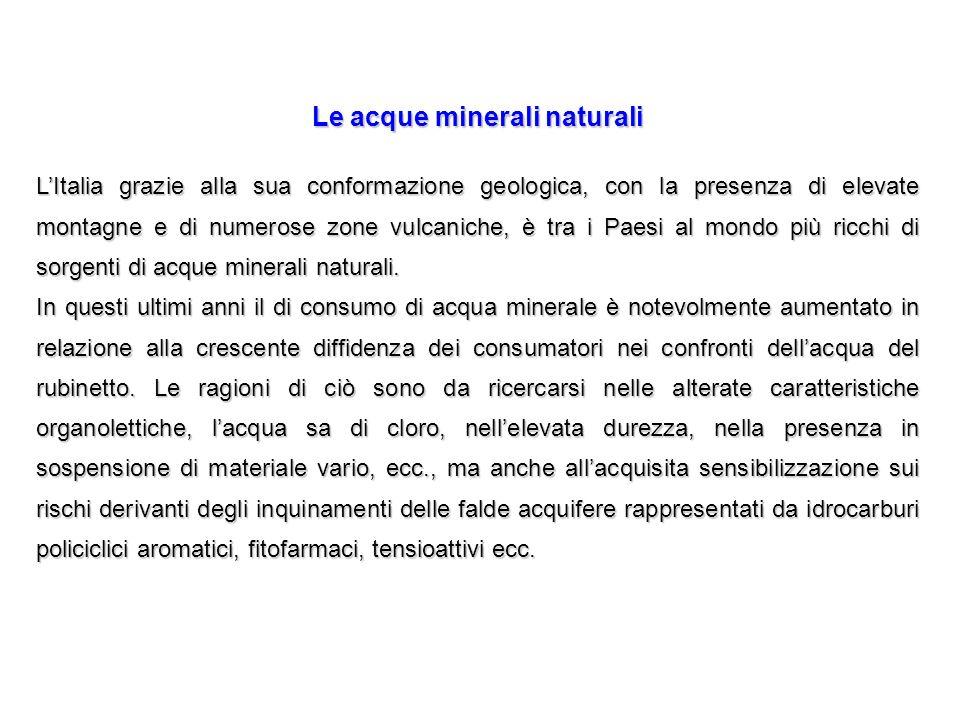 Le acque minerali naturali LItalia grazie alla sua conformazione geologica, con la presenza di elevate montagne e di numerose zone vulcaniche, è tra i