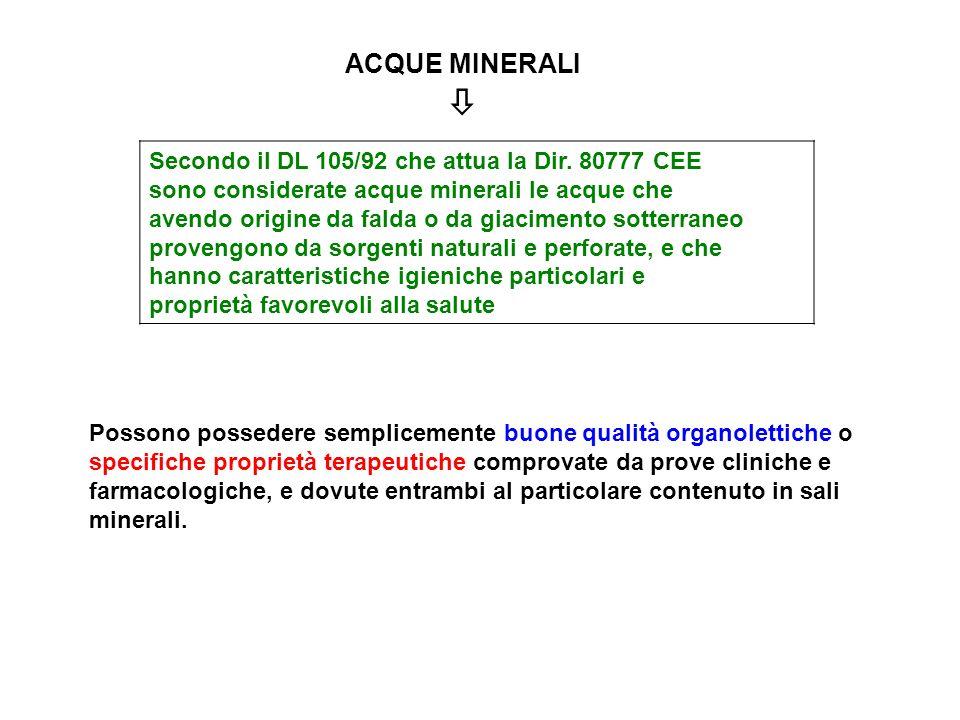 ACQUE MINERALI Secondo il DL 105/92 che attua la Dir. 80777 CEE sono considerate acque minerali le acque che avendo origine da falda o da giacimento s