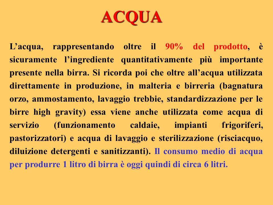 Lacqua, rappresentando oltre il 90% del prodotto, è sicuramente lingrediente quantitativamente più importante presente nella birra. Si ricorda poi che