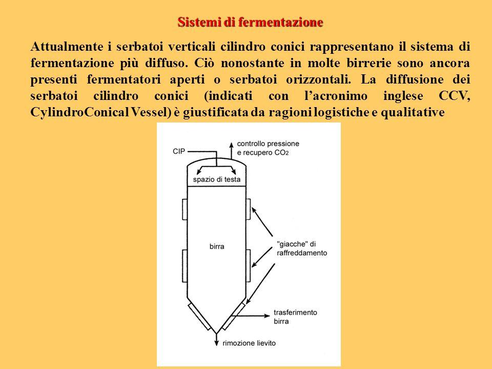 Sistemi di fermentazione Attualmente i serbatoi verticali cilindro conici rappresentano il sistema di fermentazione più diffuso. Ciò nonostante in mol