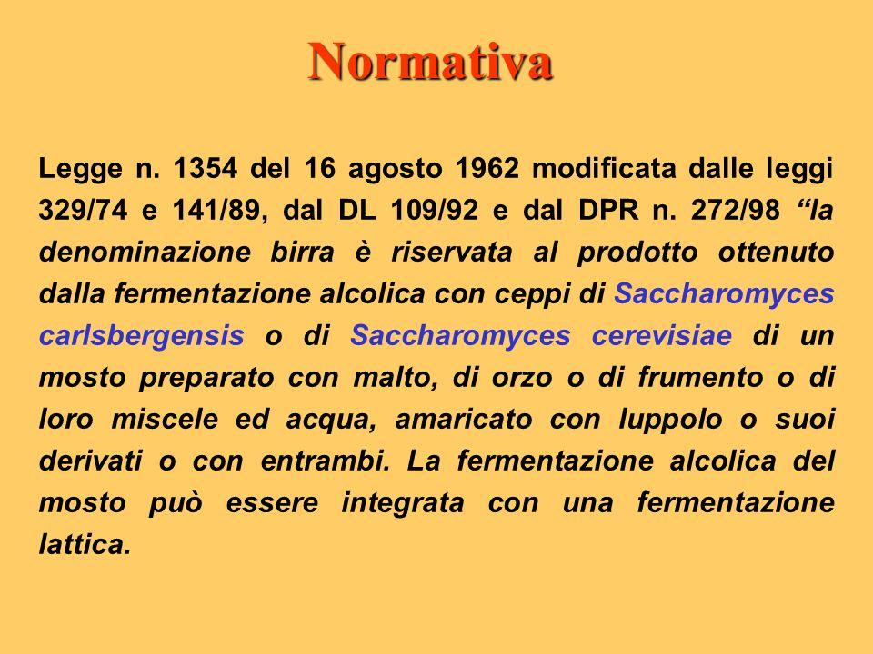 Legge n. 1354 del 16 agosto 1962 modificata dalle leggi 329/74 e 141/89, dal DL 109/92 e dal DPR n. 272/98 la denominazione birra è riservata al prodo