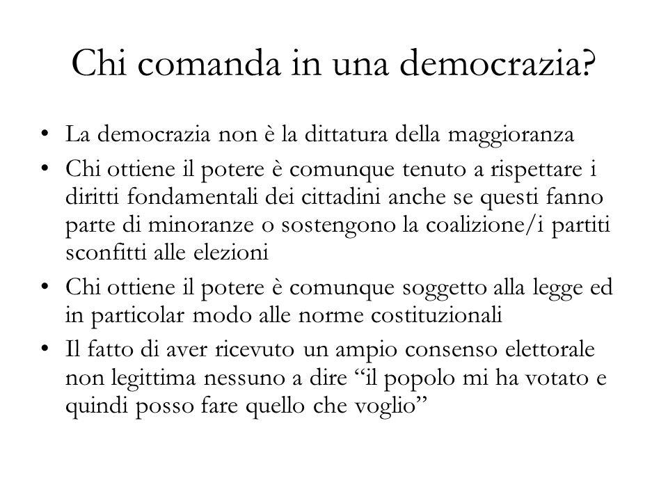 Chi comanda in una democrazia? La democrazia non è la dittatura della maggioranza Chi ottiene il potere è comunque tenuto a rispettare i diritti fonda