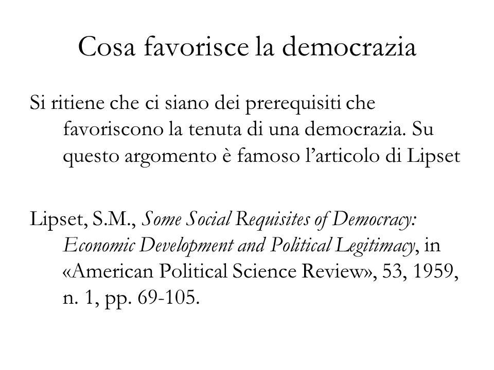 Cosa favorisce la democrazia Si ritiene che ci siano dei prerequisiti che favoriscono la tenuta di una democrazia. Su questo argomento è famoso lartic