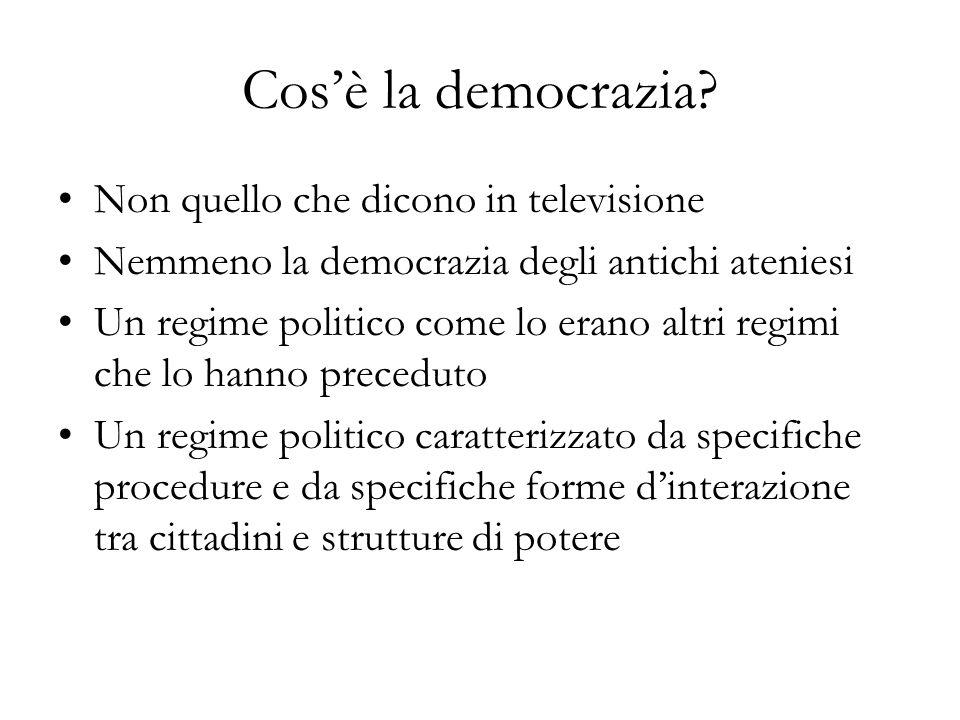 Cosè la democrazia? Non quello che dicono in televisione Nemmeno la democrazia degli antichi ateniesi Un regime politico come lo erano altri regimi ch