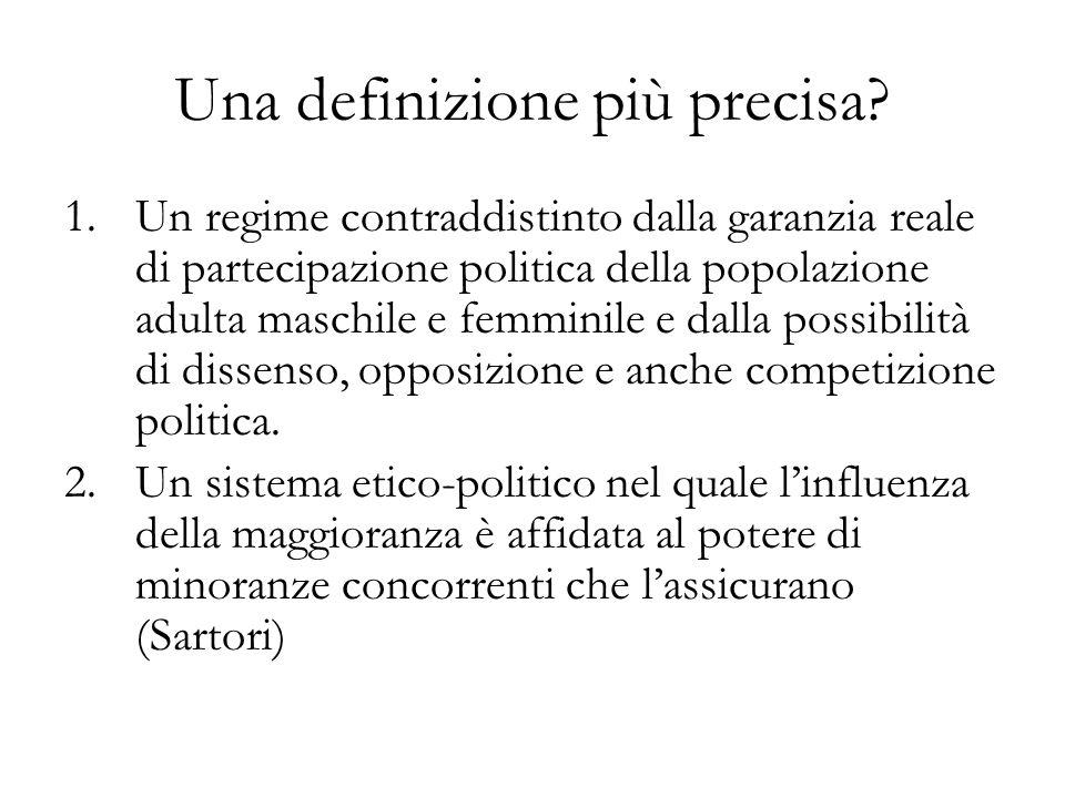 Una definizione procedurale Quellinsieme di norme e procedure che risultano da un accordo-compromesso per la risoluzione pacifica dei conflitti tra gli attori sociali, politicamente rilevanti, e gli altri attori istituzionalmente presenti nellarena politica