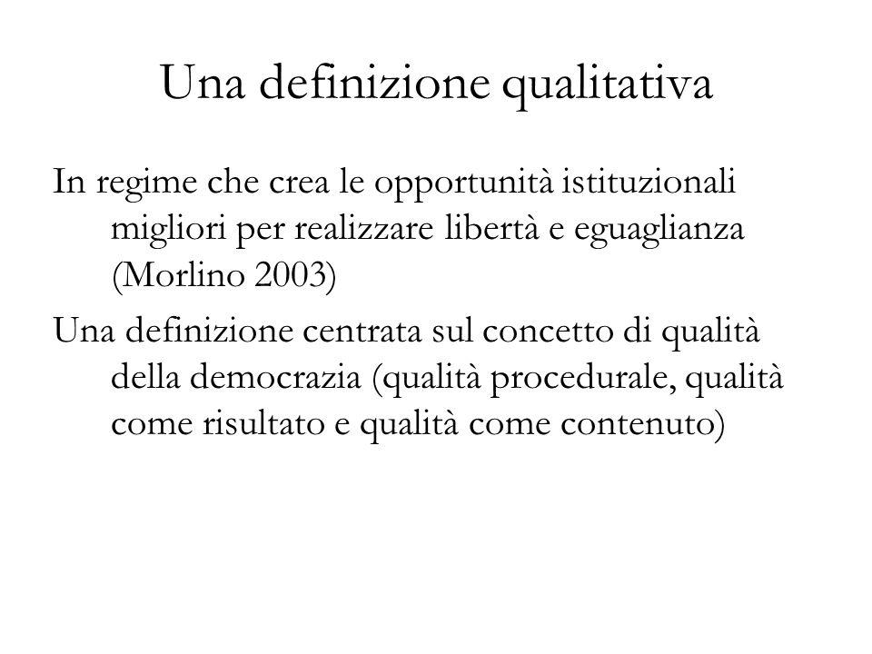 Una definizione qualitativa In regime che crea le opportunità istituzionali migliori per realizzare libertà e eguaglianza (Morlino 2003) Una definizio