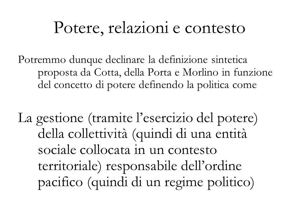 Potere, relazioni e contesto Potremmo dunque declinare la definizione sintetica proposta da Cotta, della Porta e Morlino in funzione del concetto di potere definendo la politica come La gestione (tramite lesercizio del potere) della collettività (quindi di una entità sociale collocata in un contesto territoriale) responsabile dellordine pacifico (quindi di un regime politico)