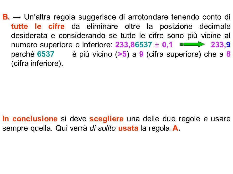 B. B. Unaltra regola suggerisce di arrotondare tenendo conto di tutte le cifre da eliminare oltre la posizione decimale desiderata e considerando se t