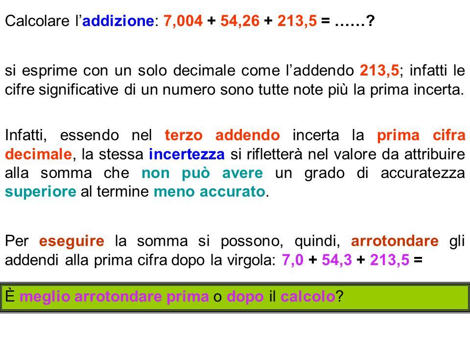 Calcolare laddizione: 7,004 + 54,26 + 213,5 = ……? si esprime con un solo decimale come laddendo 213,5; infatti le cifre significative di un numero son