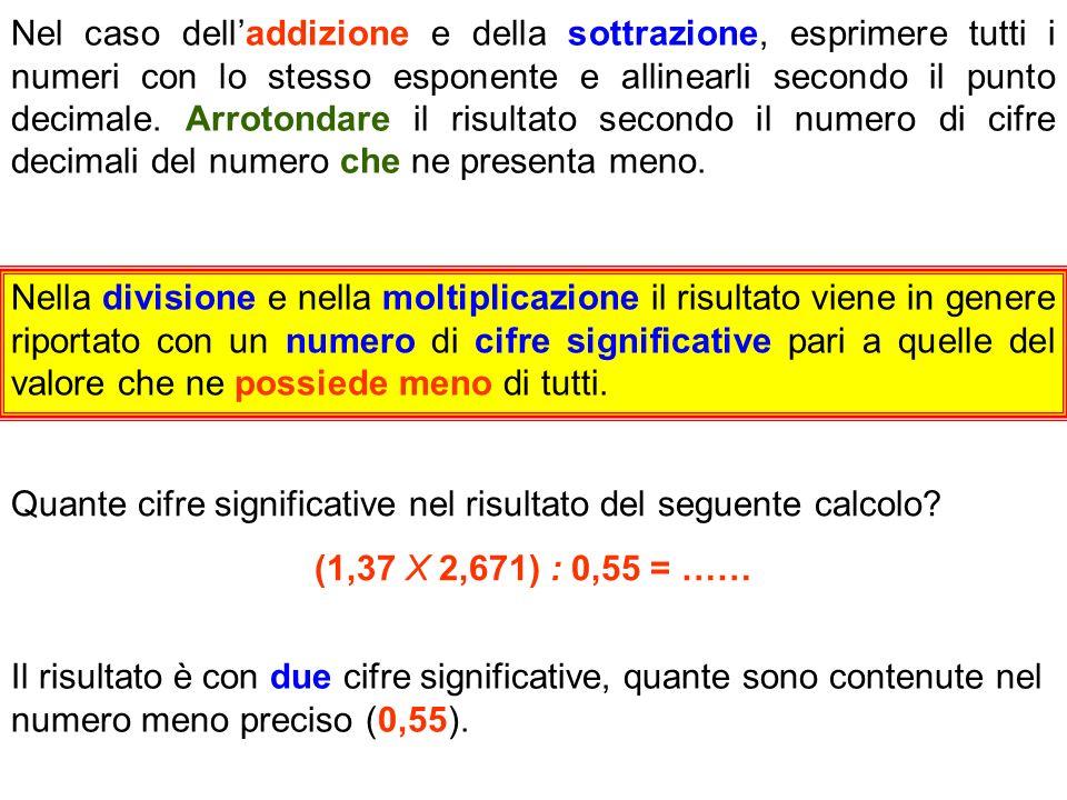 Nel caso delladdizione e della sottrazione, esprimere tutti i numeri con lo stesso esponente e allinearli secondo il punto decimale. Arrotondare il ri