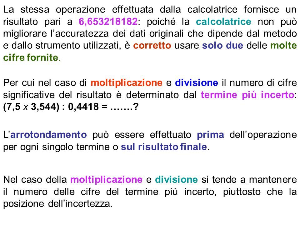 La stessa operazione effettuata dalla calcolatrice fornisce un risultato pari a 6,653218182: poiché la calcolatrice non può migliorare laccuratezza de