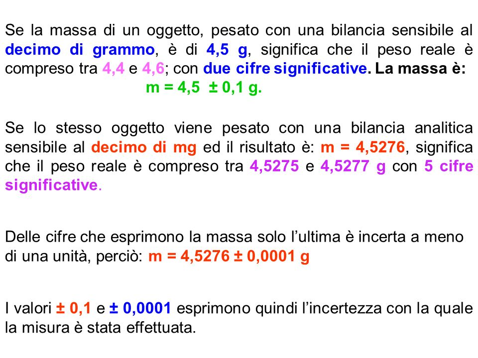 Se la massa di un oggetto, pesato con una bilancia sensibile al decimo di grammo, è di 4,5 g, significa che il peso reale è compreso tra 4,4 e 4,6; con due cifre significative.