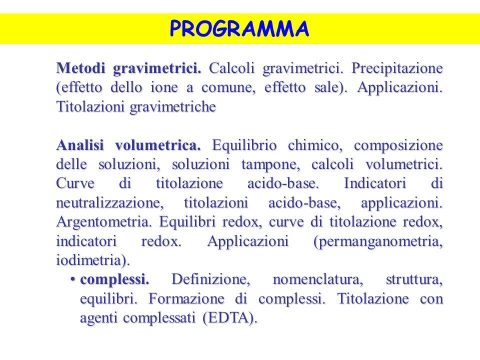 PROGRAMMA Metodi gravimetrici. Calcoli gravimetrici. Precipitazione (effetto dello ione a comune, effetto sale). Applicazioni. Titolazioni gravimetric