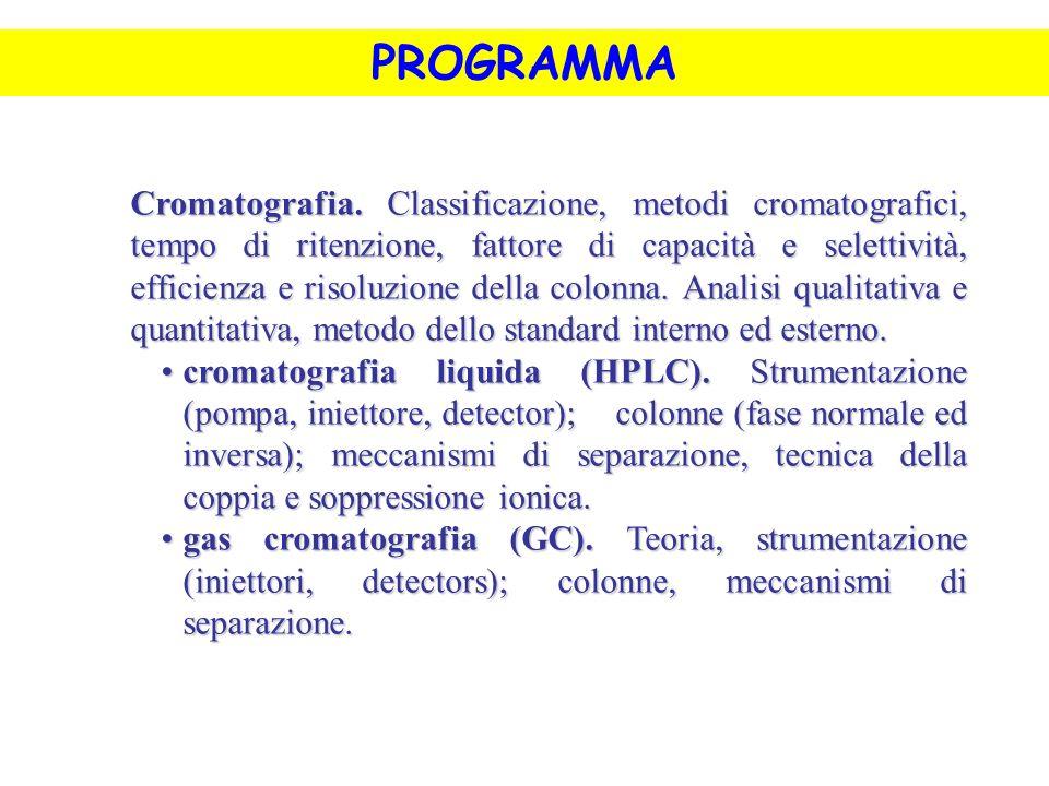 PROGRAMMA Cromatografia. Classificazione, metodi cromatografici, tempo di ritenzione, fattore di capacità e selettività, efficienza e risoluzione dell