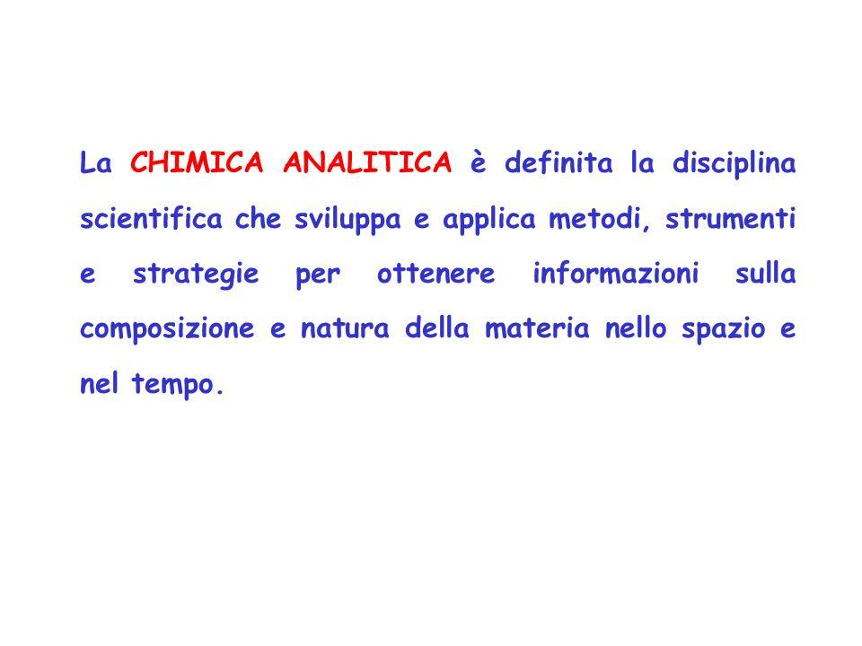 La CHIMICA ANALITICA è definita la disciplina scientifica che sviluppa e applica metodi, strumenti e strategie per ottenere informazioni sulla composi
