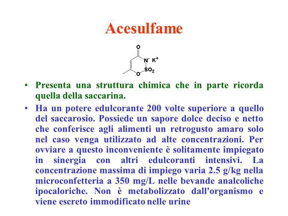 Ciclammati Sono dolcificanti intensivi di sintesi che derivano dai sali di sodio e di calcio dellacido ciclamico (acido cicloesilsulfamico).