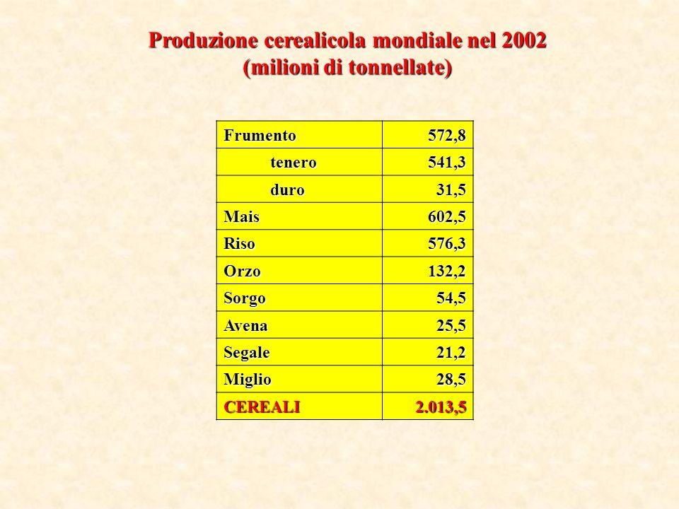 I principali cereali coltivati sono frumento (duro e tenero), riso, mais, orzo, avena, segale, sorgo e miglio.