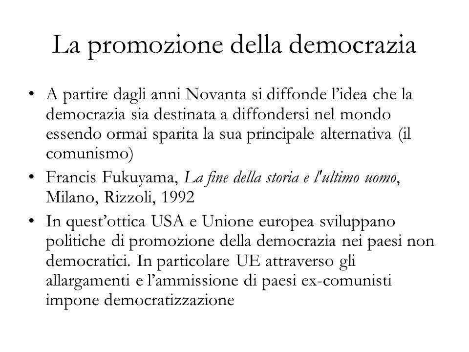 La promozione della democrazia A partire dagli anni Novanta si diffonde lidea che la democrazia sia destinata a diffondersi nel mondo essendo ormai sp