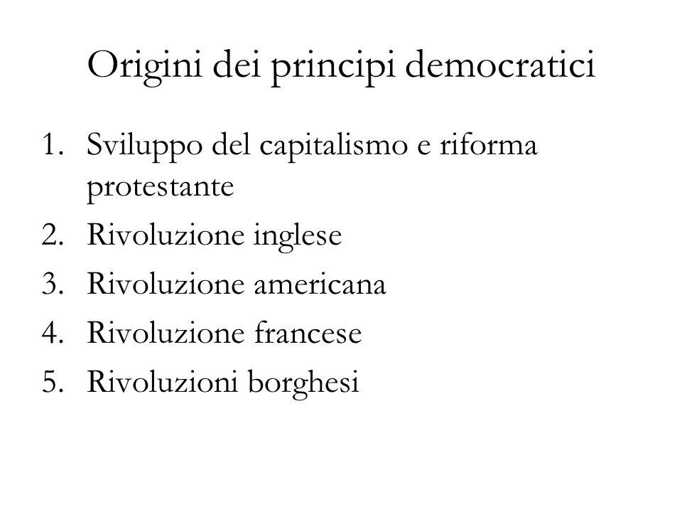 Origini dei principi democratici 1.Sviluppo del capitalismo e riforma protestante 2.Rivoluzione inglese 3.Rivoluzione americana 4.Rivoluzione francese