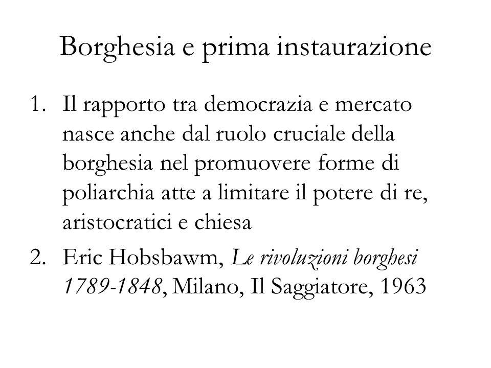 Borghesia e prima instaurazione 1.Il rapporto tra democrazia e mercato nasce anche dal ruolo cruciale della borghesia nel promuovere forme di poliarch