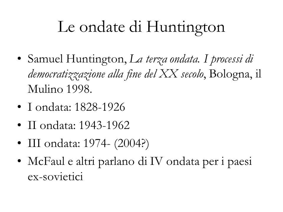 Le ondate di Huntington Samuel Huntington, La terza ondata. I processi di democratizzazione alla fine del XX secolo, Bologna, il Mulino 1998. I ondata
