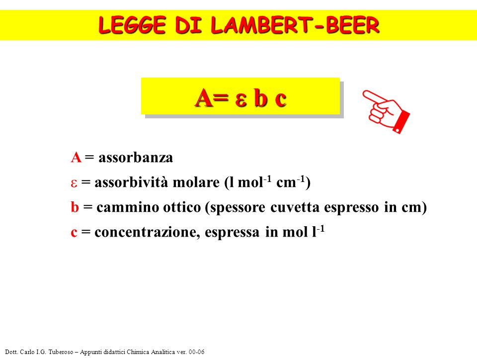 A= b c LEGGE DI LAMBERT-BEER A = assorbanza = assorbività molare (l mol -1 cm -1 ) b = cammino ottico (spessore cuvetta espresso in cm) c = concentraz