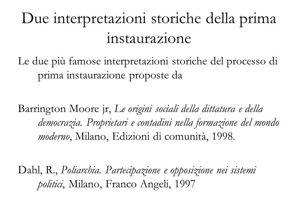 Due interpretazioni storiche della prima instaurazione Le due più famose interpretazioni storiche del processo di prima instaurazione proposte da Barr