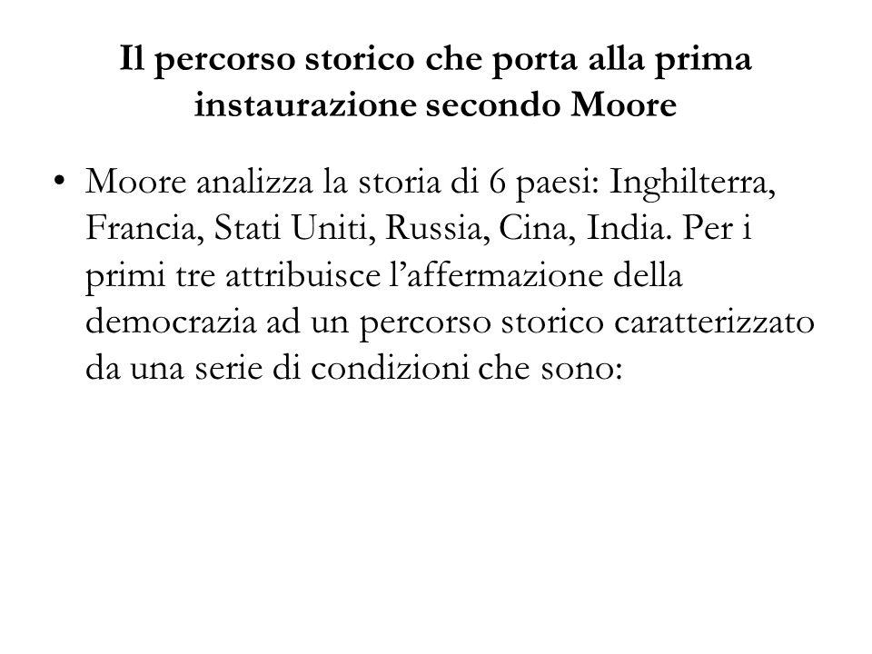 Il percorso storico che porta alla prima instaurazione secondo Moore Moore analizza la storia di 6 paesi: Inghilterra, Francia, Stati Uniti, Russia, C