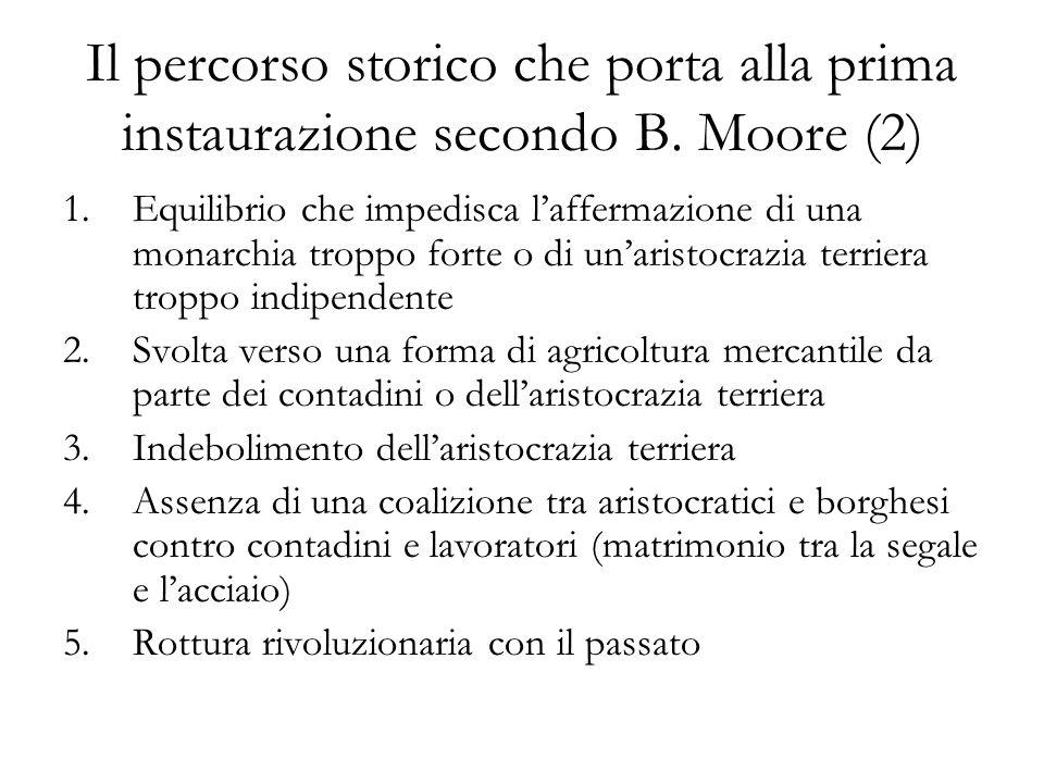 Il percorso storico che porta alla prima instaurazione secondo B. Moore (2) 1.Equilibrio che impedisca laffermazione di una monarchia troppo forte o d