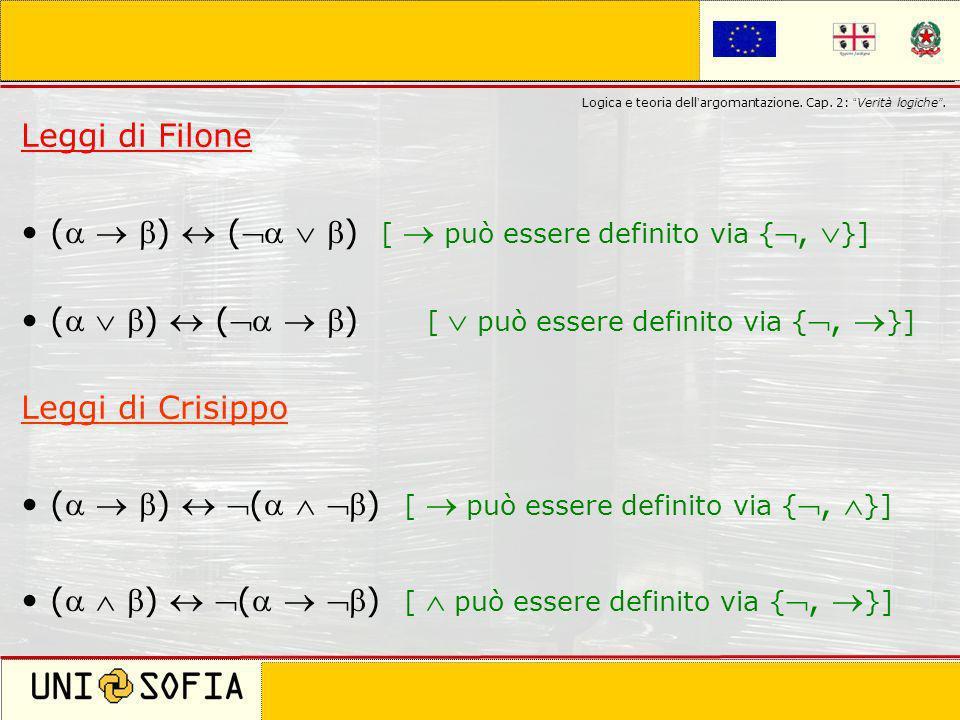 Cagliari 8 Novembre 2006 Corso di laurea in Scienze della Comunicazione Logica e teoria dell argomantazione. Cap. 2: Verità logiche. Leggi di Filone (