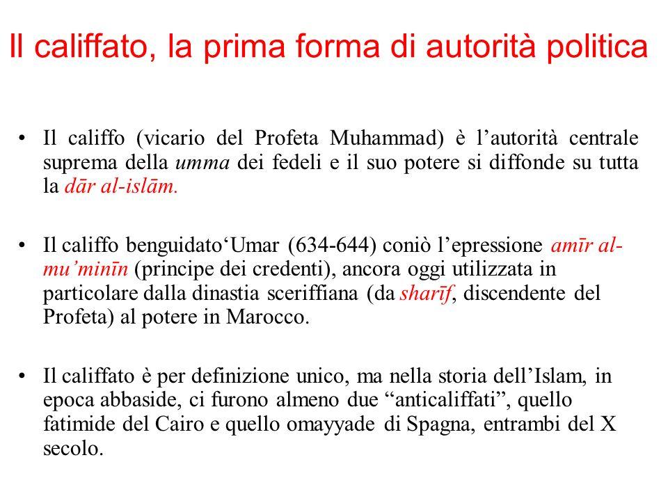 Il califfato, la prima forma di autorità politica Il califfo (vicario del Profeta Muhammad) è lautorità centrale suprema della umma dei fedeli e il su
