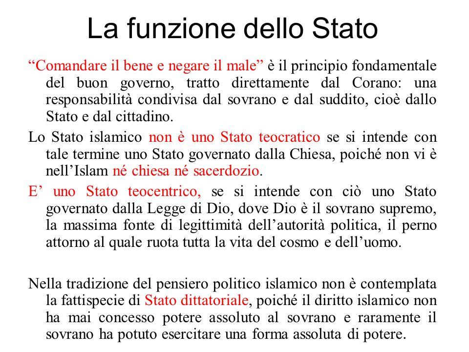 La funzione dello Stato Comandare il bene e negare il male è il principio fondamentale del buon governo, tratto direttamente dal Corano: una responsab