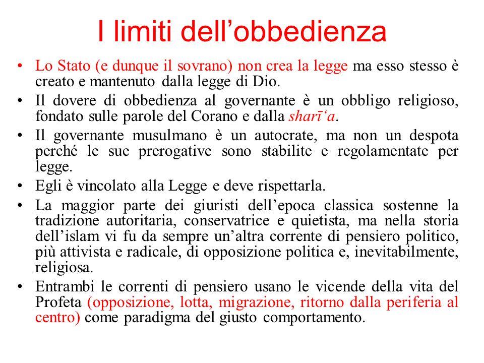 I limiti dellobbedienza Lo Stato (e dunque il sovrano) non crea la legge ma esso stesso è creato e mantenuto dalla legge di Dio. Il dovere di obbedien