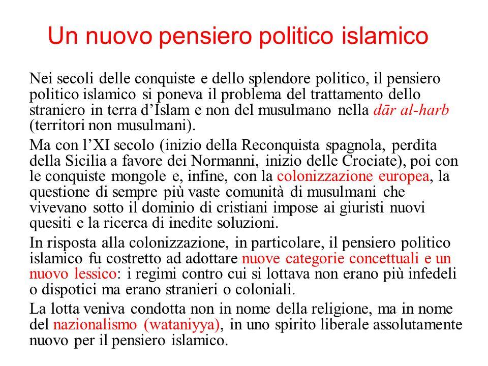 Un nuovo pensiero politico islamico Nei secoli delle conquiste e dello splendore politico, il pensiero politico islamico si poneva il problema del tra