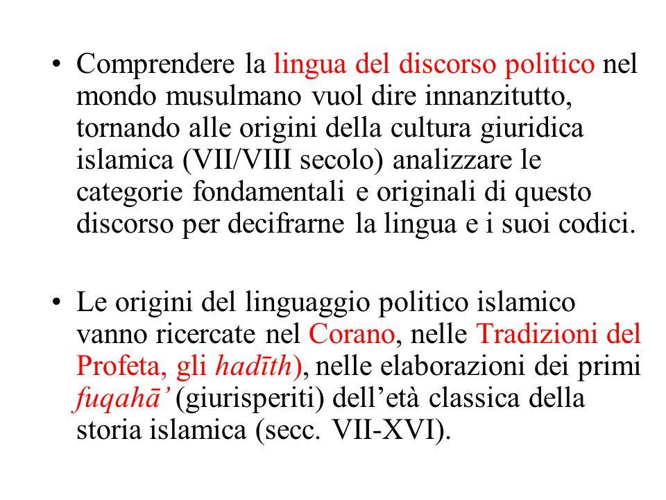 Comprendere la lingua del discorso politico nel mondo musulmano vuol dire innanzitutto, tornando alle origini della cultura giuridica islamica (VII/VI