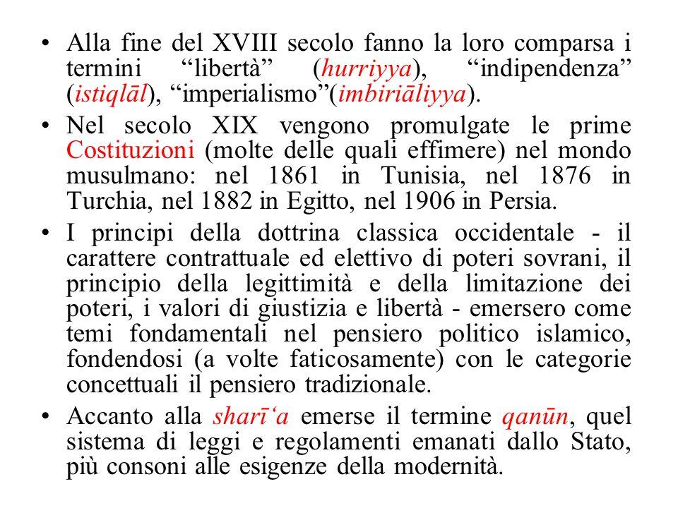 Alla fine del XVIII secolo fanno la loro comparsa i termini libertà (hurriyya), indipendenza (istiqlāl), imperialismo(imbiriāliyya). Nel secolo XIX ve