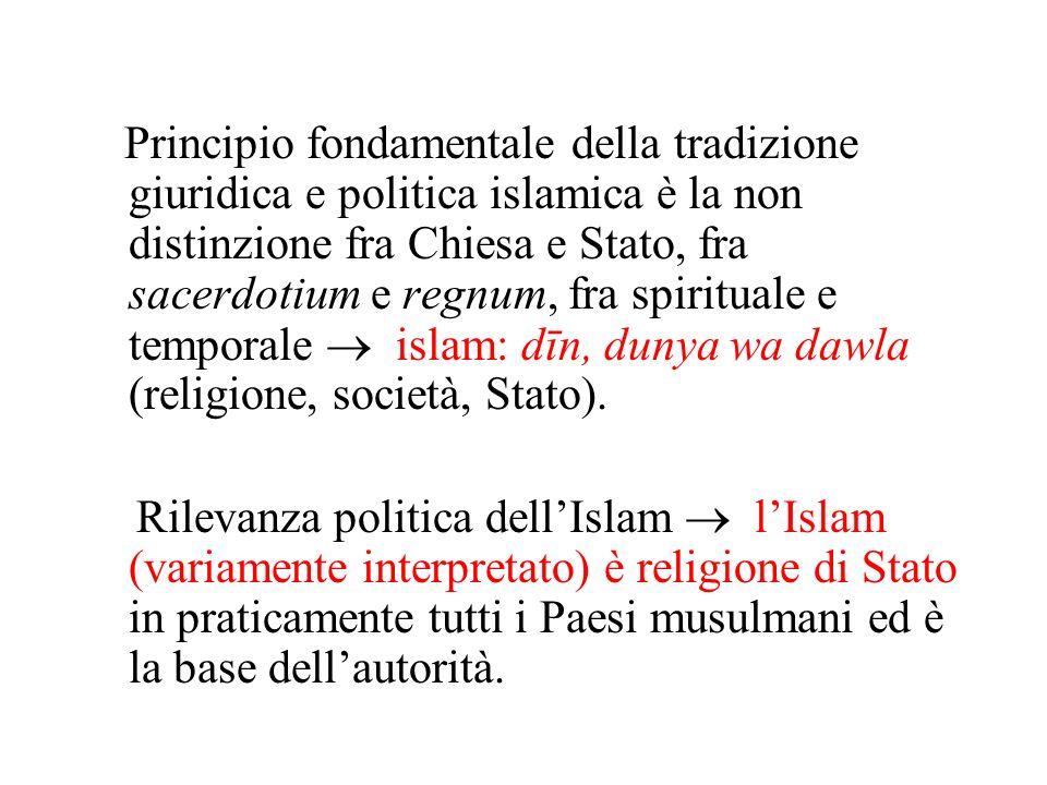 Principio fondamentale della tradizione giuridica e politica islamica è la non distinzione fra Chiesa e Stato, fra sacerdotium e regnum, fra spiritual