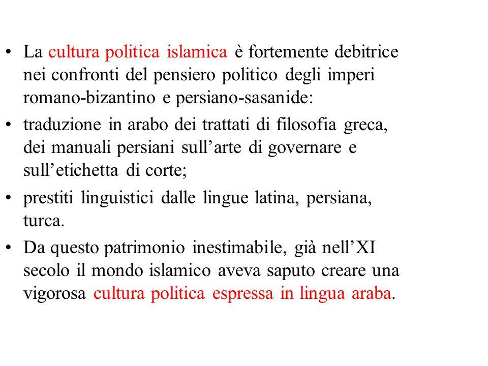 La cultura politica islamica è fortemente debitrice nei confronti del pensiero politico degli imperi romano-bizantino e persiano-sasanide: traduzione