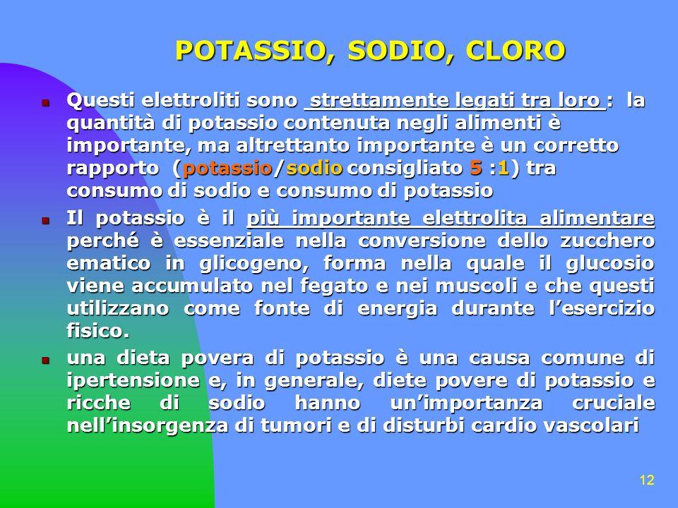 12 POTASSIO, SODIO, CLORO Questi elettroliti sono strettamente legati tra loro : la quantità di potassio contenuta negli alimenti è importante, ma altrettanto importante è un corretto rapporto (potassio/sodio consigliato 5 :1) tra consumo di sodio e consumo di potassio Questi elettroliti sono strettamente legati tra loro : la quantità di potassio contenuta negli alimenti è importante, ma altrettanto importante è un corretto rapporto (potassio/sodio consigliato 5 :1) tra consumo di sodio e consumo di potassio Il potassio è il più importante elettrolita alimentare perché è essenziale nella conversione dello zucchero ematico in glicogeno, forma nella quale il glucosio viene accumulato nel fegato e nei muscoli e che questi utilizzano come fonte di energia durante lesercizio fisico.