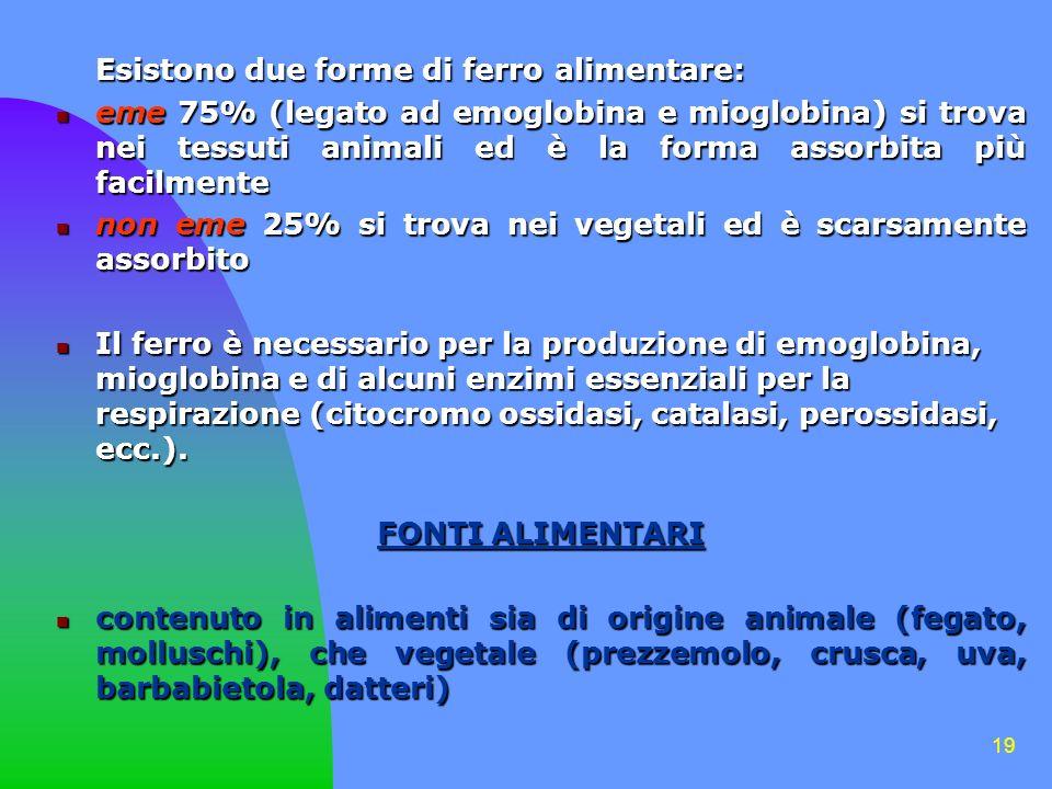 19 Esistono due forme di ferro alimentare: eme 75% (legato ad emoglobina e mioglobina) si trova nei tessuti animali ed è la forma assorbita più facilm