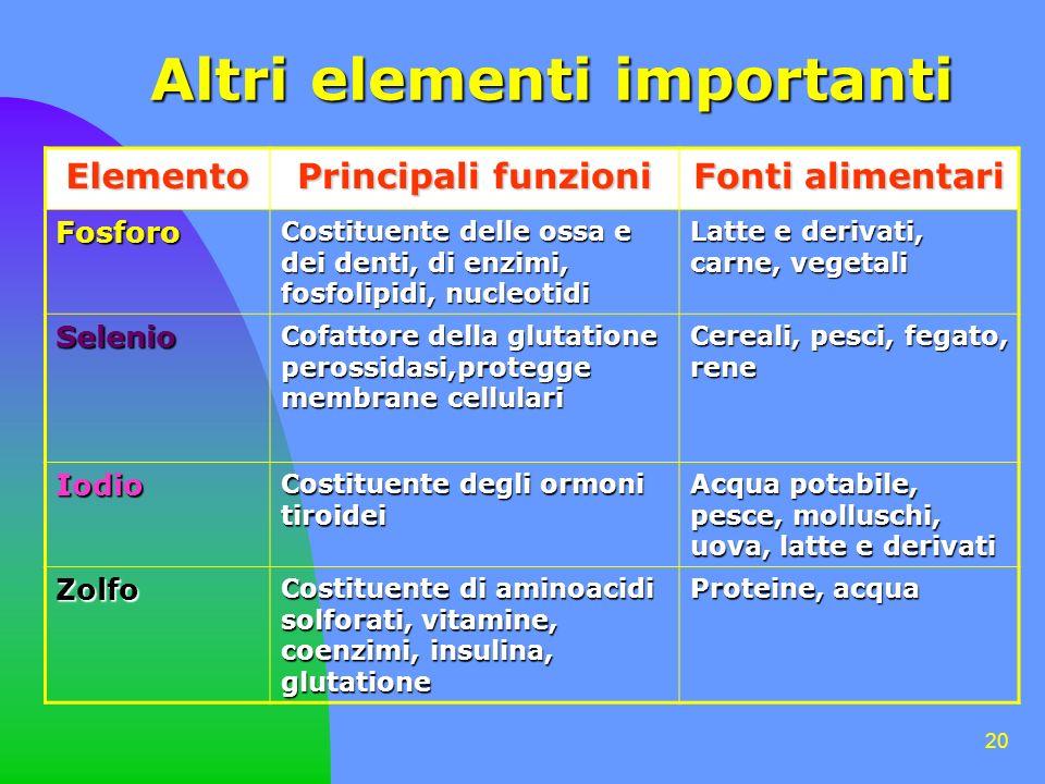 20 Altri elementi importanti Elemento Principali funzioni Fonti alimentari Fosforo Costituente delle ossa e dei denti, di enzimi, fosfolipidi, nucleot