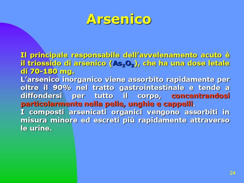 24 Arsenico Il principale responsabile dellavvelenamento acuto è il triossido di arsenico (As 2 O 3 ), che ha una dose letale di 70-180 mg. Larsenico