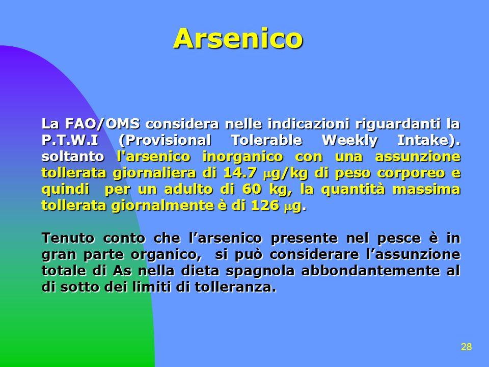 28 Arsenico La FAO/OMS considera nelle indicazioni riguardanti la P.T.W.I (Provisional Tolerable Weekly Intake). soltanto l'arsenico inorganico con un