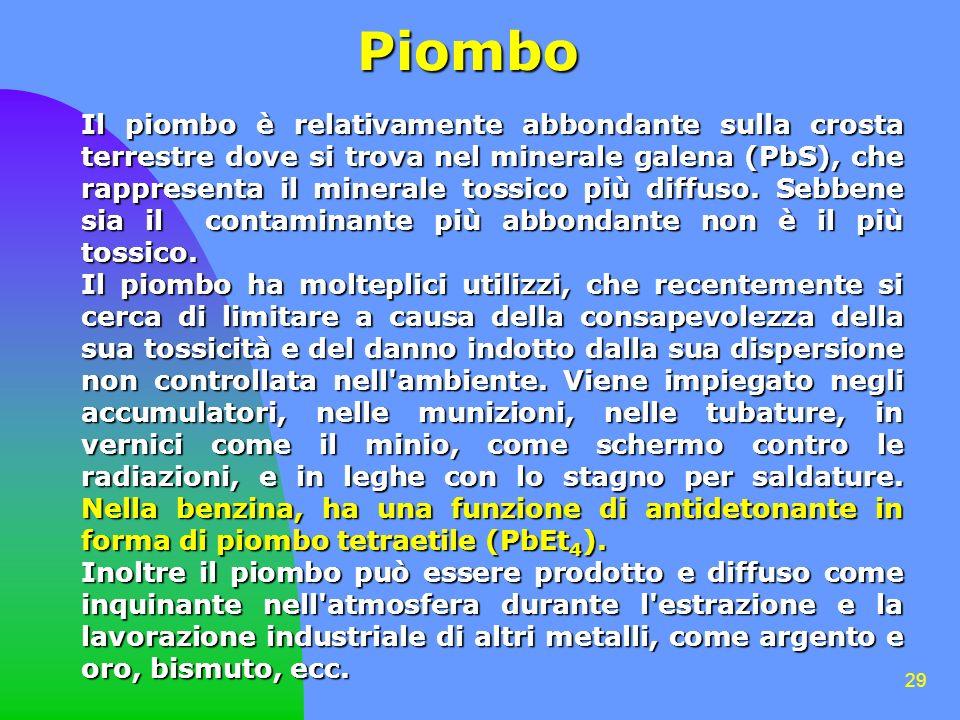 29 Piombo Il piombo è relativamente abbondante sulla crosta terrestre dove si trova nel minerale galena (PbS), che rappresenta il minerale tossico più