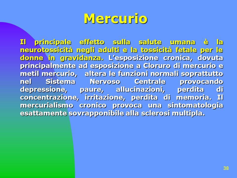 38 Mercurio Il principale effetto sulla salute umana è la neurotossicità negli adulti e la tossicità fetale per le donne in gravidanza.