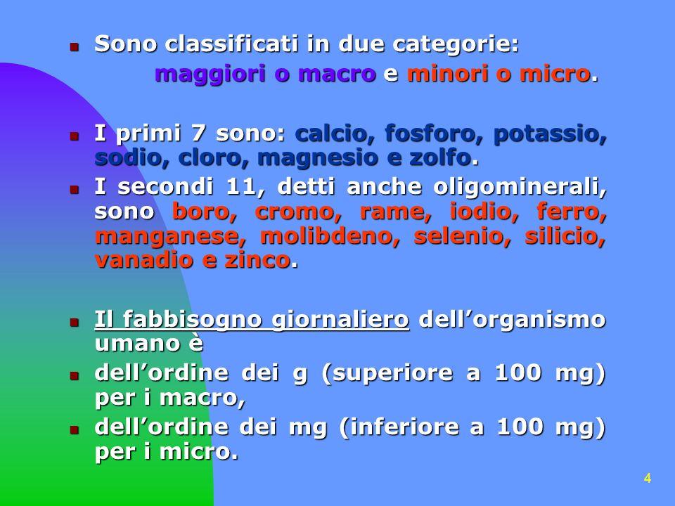 4 Sono classificati in due categorie: Sono classificati in due categorie: maggiori o macro e minori o micro. maggiori o macro e minori o micro. I prim