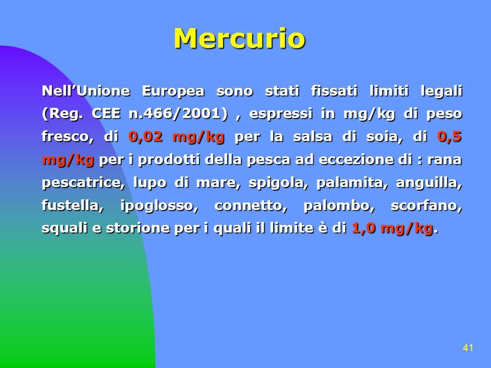 41 Mercurio NellUnione Europea sono stati fissati limiti legali (Reg. CEE n.466/2001), espressi in mg/kg di peso fresco, di 0,02 mg/kg per la salsa di