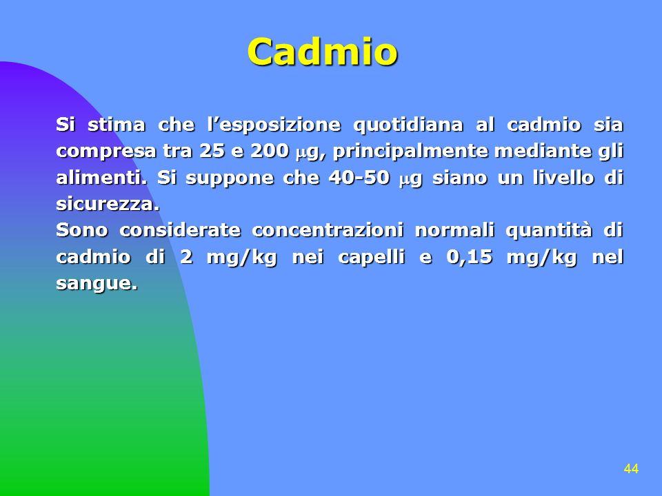 44 Cadmio Si stima che lesposizione quotidiana al cadmio sia compresa tra 25 e 200 g, principalmente mediante gli alimenti. Si suppone che 40-50 g sia